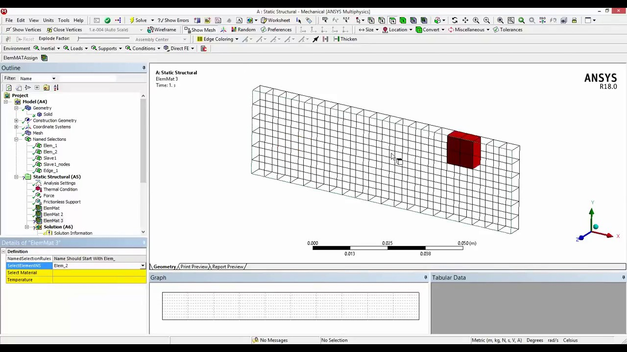 ANSYS ACT APP : Intermediate Level Tutorial : Material Assignment to  element Named Selection