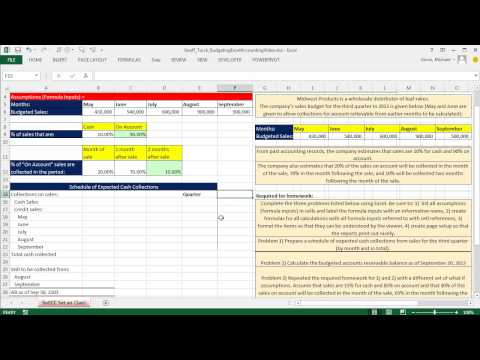 Excel Accounting Schedule of Expected Cash Collections Using A Set Of Assumptions / Formula Inputs