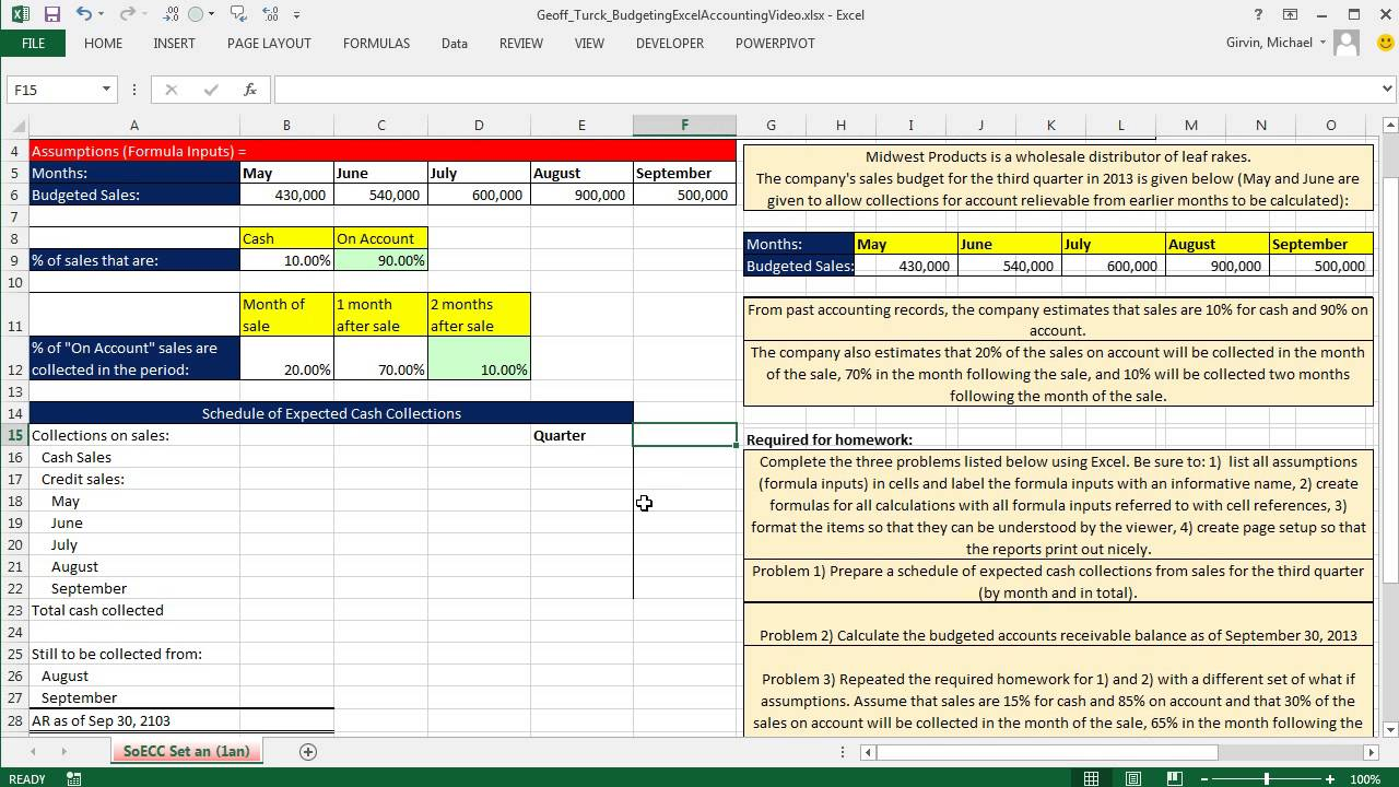 excel accounting schedule of expected cash collections