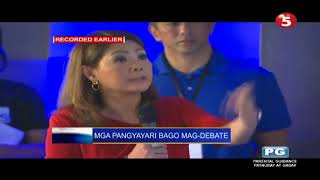 Duterte, Poe, and Roxas trying to entertain the crowd (Pre-debate Part 2)