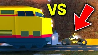 TRAIN VS VOLT TRON BIKE IN ROBLOX JAILBREAK! *INSANE GLITCH*