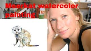 Meerkat watercolor demonstration. Speed painting. Animal Zen Drawing
