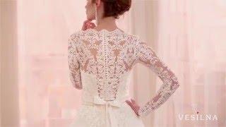 Кружевное свадебное платье А силуэт с рукавами от VESILNA™ модель 3050