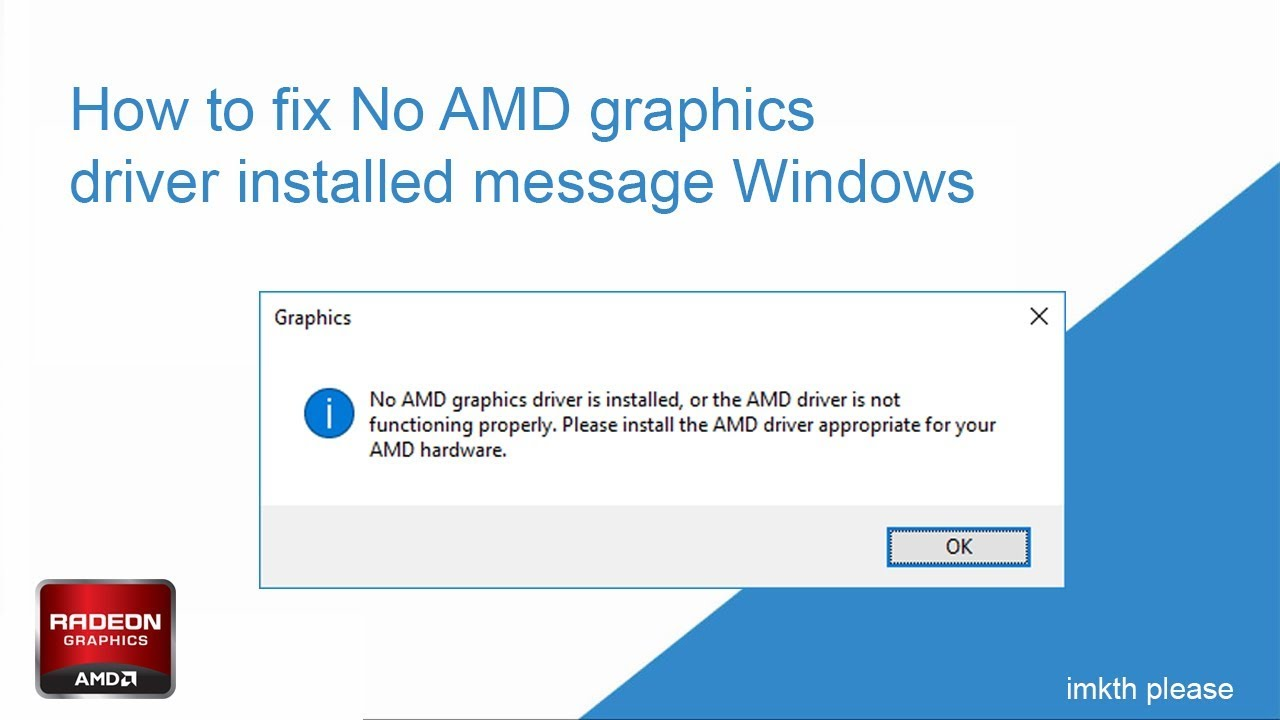 How to fix No AMD graphics driver is installed, or the AMD driver is not  functioning properly 2019
