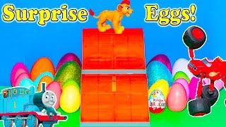 SURPRISE EGGS Lion Guard with Thomas the Train Super HeroesPaw Patrol Candy Toys Video
