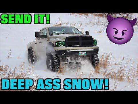 WINTER LIFTED TRUCKS THROUGH DEEP SNOW ! *BOTH GOT STUCK*