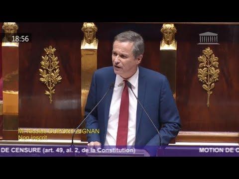 Motion de censure - Assemblée Nationale : discours de Nicolas Dupont-Aignan