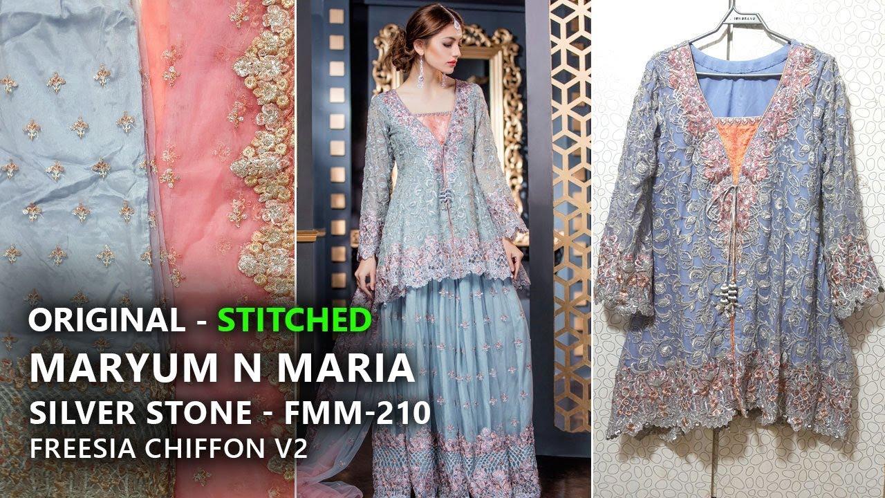 74e5019dfa Maryum N Maria Luxury Chiffon Freesia V2 - Stitched Silver Stone FMM210 -  Pakistani Branded Clothes by Sara Clothes
