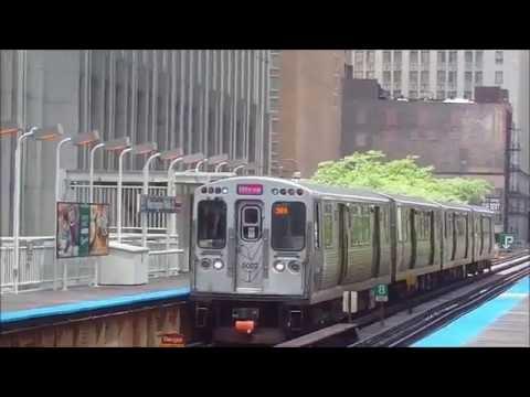 CTA trains in action at Washington/Wells station (06-05-16)