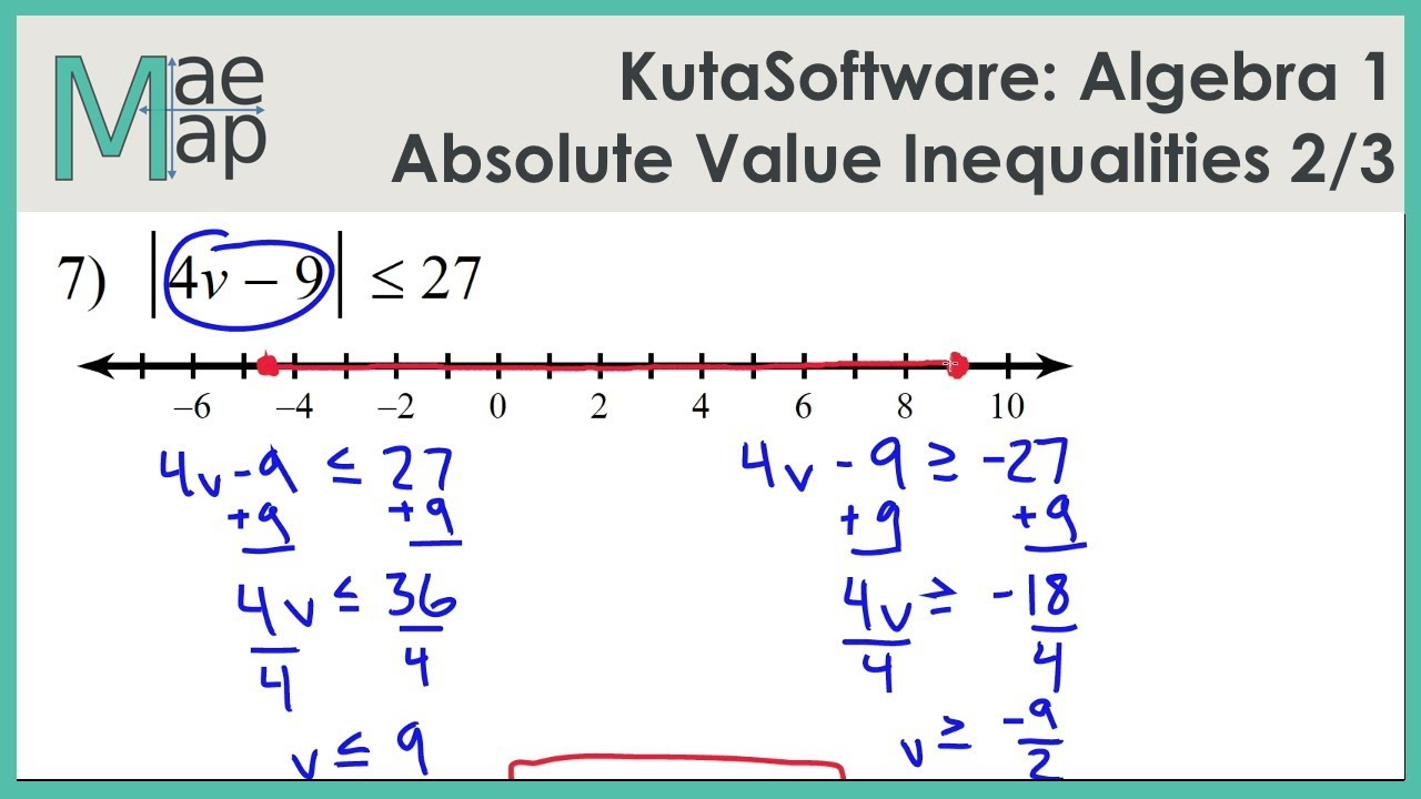 Kuta Algebra 1 Absolute Value Inequalities Part 2