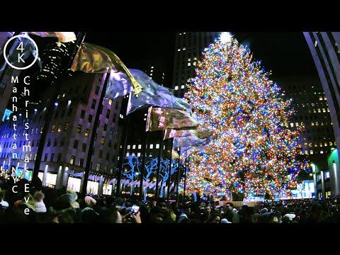 NYC Christmas Eve 2019 - 5th Avenue Manhattan, New York 4K - Christmas Tree, Windows & Light Show