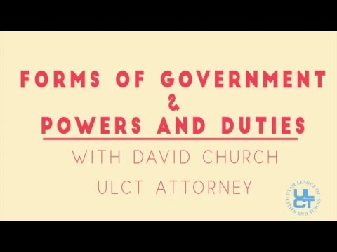 Forms of Government in Utah Lecture by Dave Church ULCT Legal Counsel February 2016