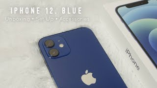 iPhone 12 Blue Unboxing, Set Up, & Accessories | Aesthetic & Chill