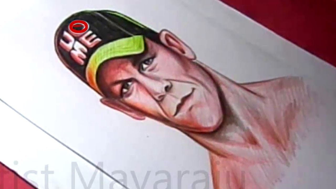 """How to Draw WWE STAR """"JOHN CENA """" Detailed Color Painting"""