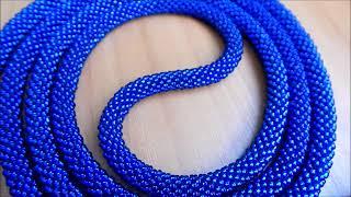 жгуты из бисера 2...лариат. белый и синий.