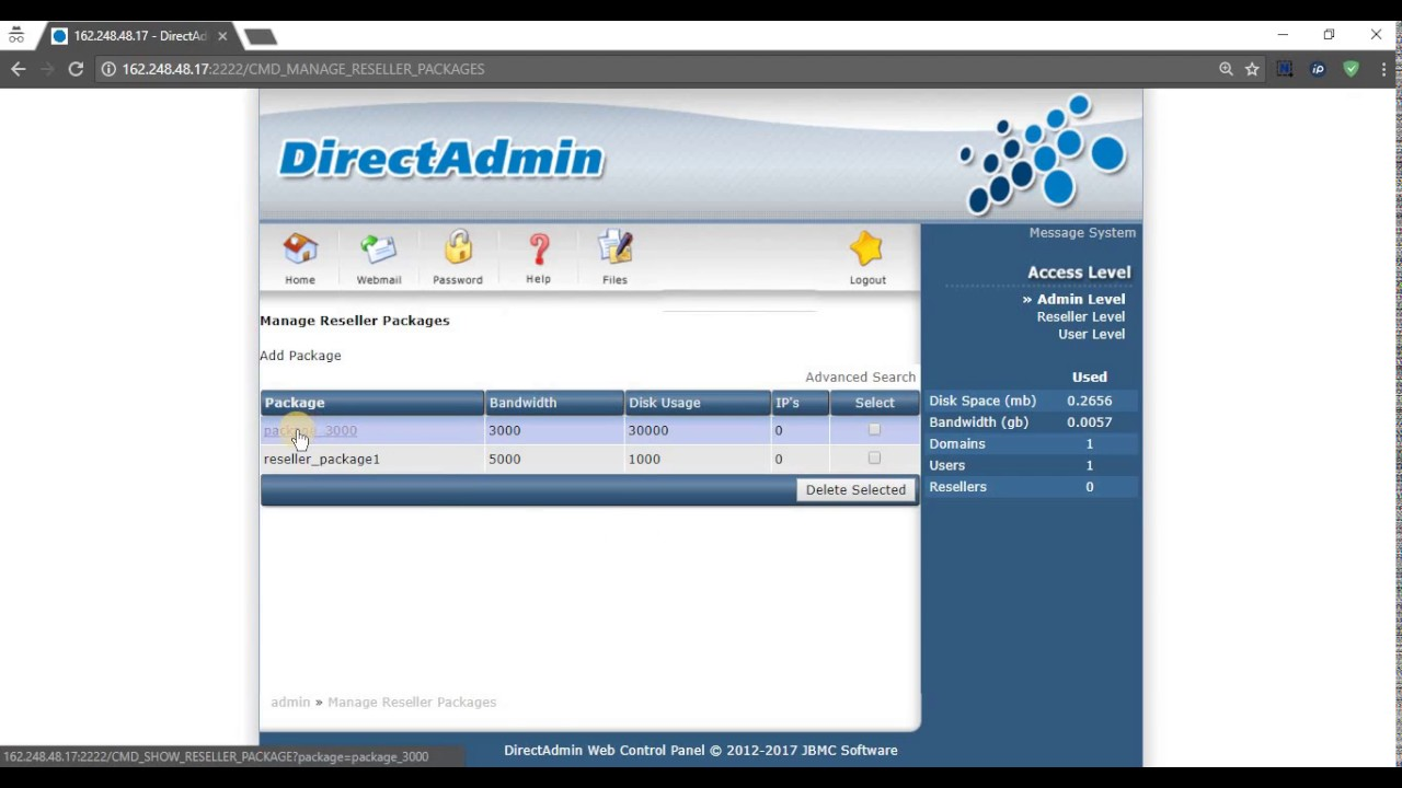 How to add/delete reseller packages in DirectAdmin - PlotHost KB/Blog