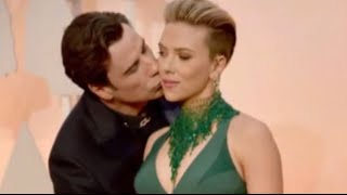 John Travolta Gives Scarlet Johansson Awkward OSCARS Kiss