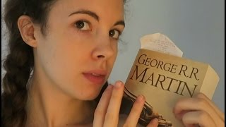 ASMR - Soft Spoken/Whisper, Gently stroking, Reading, Page Turning, Tapping Books