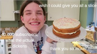 Baking myself a funfetti cake for 40,000 subscribers