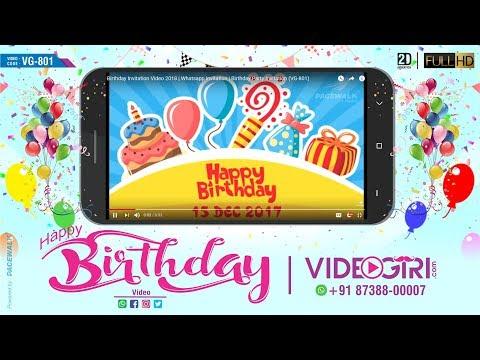 Birthday Invitation Video 2018   Whatsapp invitation   Birthday Party Invitation   VG-801