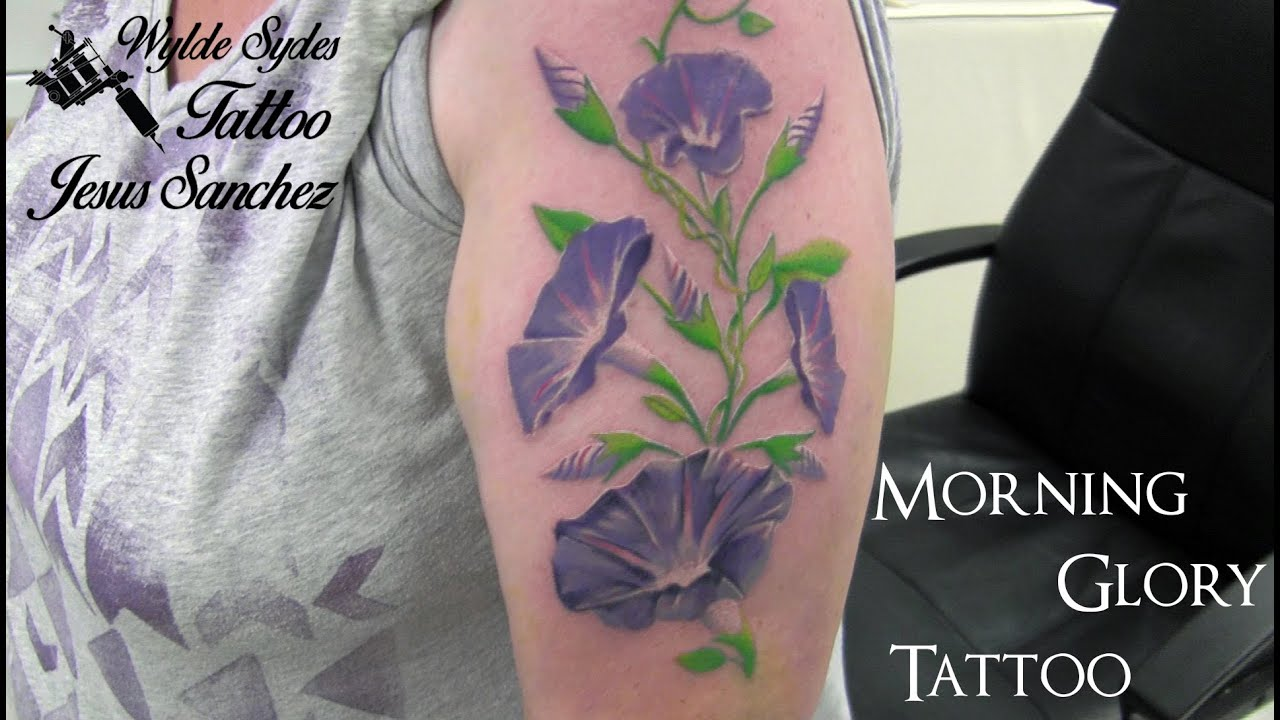 full color morning glory tattoo by jesus sanchez wylde sydes rh youtube com morning glory tattoo black and white morning glory tattoo studio