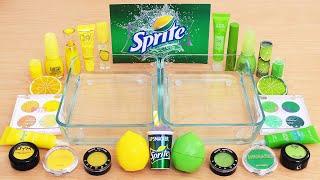Mixing Lemon and Lime Makeup Eyeshadow Into Slime ASMR