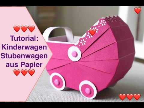 Tutorial: kinderwagen stubenwagen aus papier bastelanleitung stampin