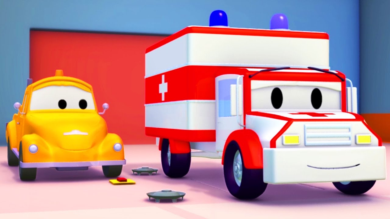 Ambulanza e tom il carro attrezzi in car city cartone