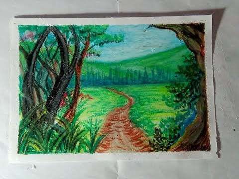 kids oil pastels drawing landscape painting step by step tutoiial.