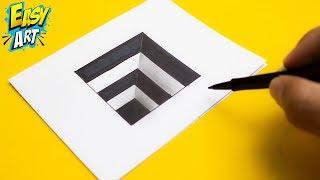 Muy fácil ► Cómo dibujar un agujero 3D para niños - ilusión óptica - 3D Trick Art