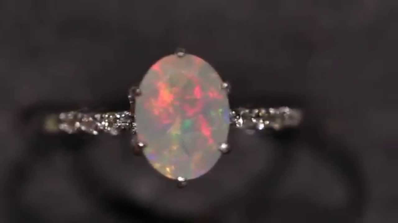 opal solitaire three natural set diamonds double ring stone oval engagement diamond rings wg angara with aaaa halo claw