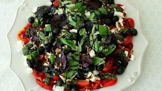 рецепты домашней кухни как приготовить салат с печеным перцем рецепт от Валентины видео рецепт