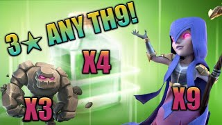4 Jump Spell WITCH RUSH : TH9 STRONG 3 STAR WAR ATTACK STRATEGY 2018 | Clash Of Clans