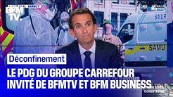 Alexandre Bompard, PDG du groupe Carrefour, répond aux questions de BFMTV et BFM Business