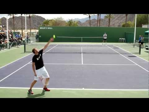 John Isner And Mardy Fish Practice 2013 BNP Paribas Open Indian Wells