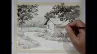 Painting a beautiful house in chinese ink 3 / Pintando una casita campestre en aguada 3