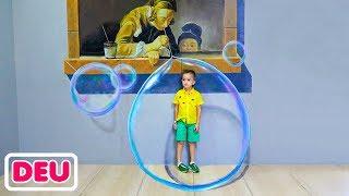 Vlad und Nikita haben einen schönen Tag im Museum der Illusionen und im Dinosaurierpark
