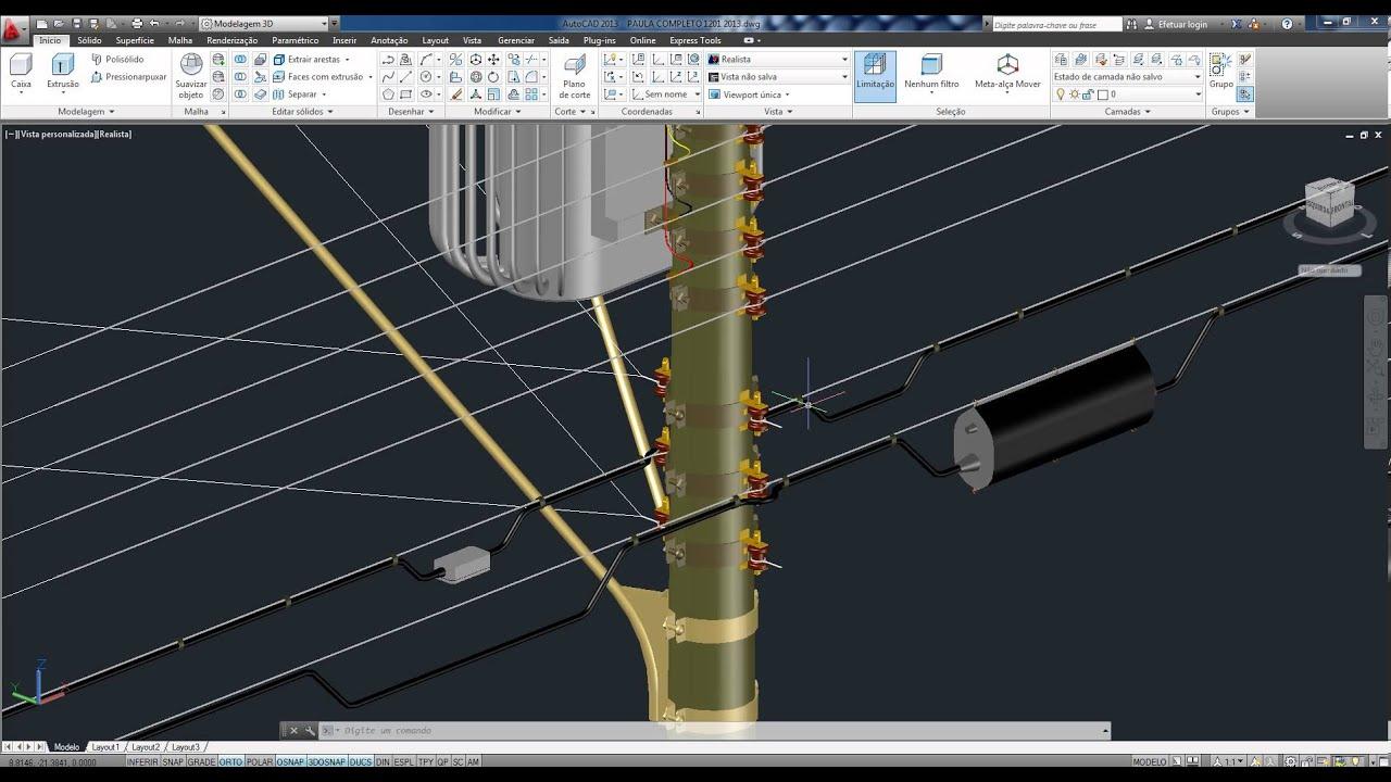 Projeto de instalação elétrica e hidráulica em 3 D no Autocad  #967F35 1916 1036