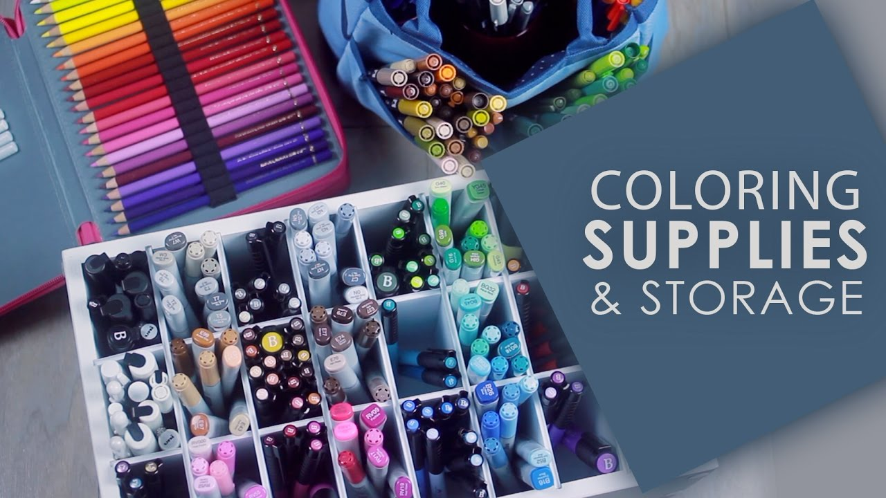 My Coloring Book Supplies & Storage - YouTube