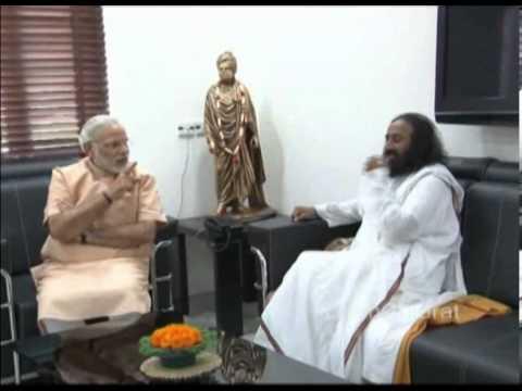 Sri Sri RaviShankar calls on Narendra Modi in Gujarat capital