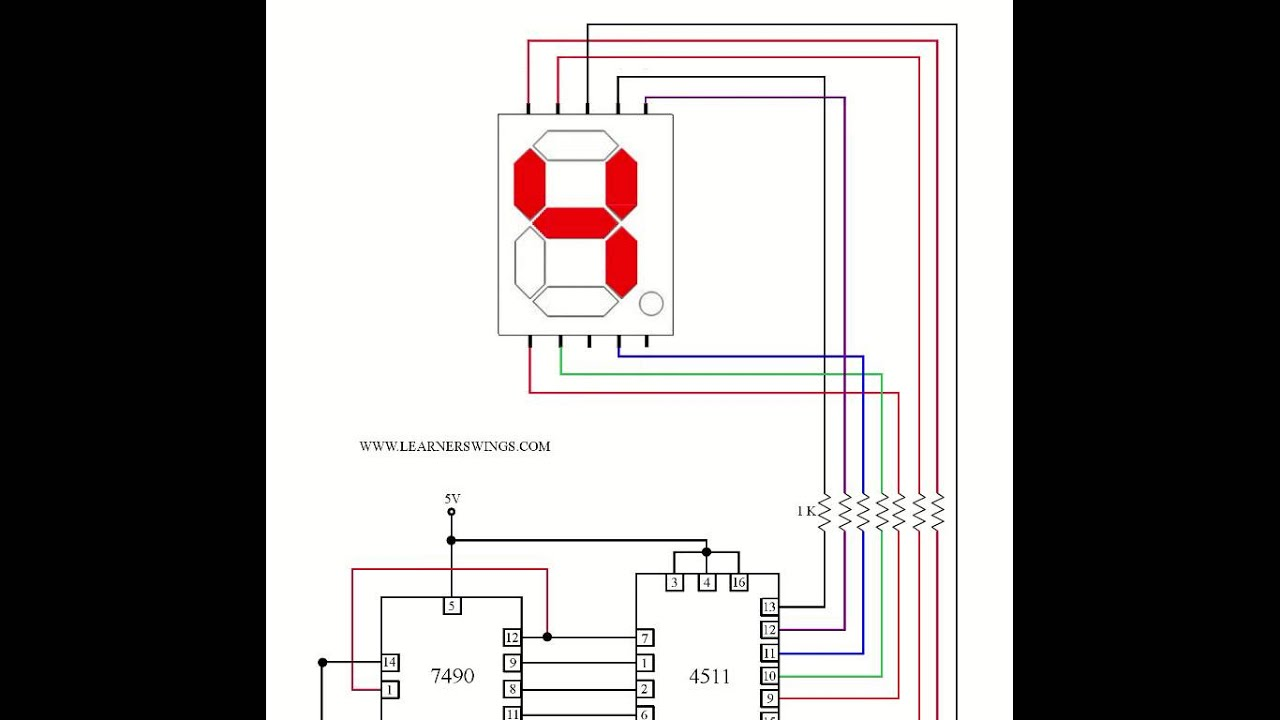 hight resolution of circuit to control a common cathode seven segment display using 7490 4511 press button