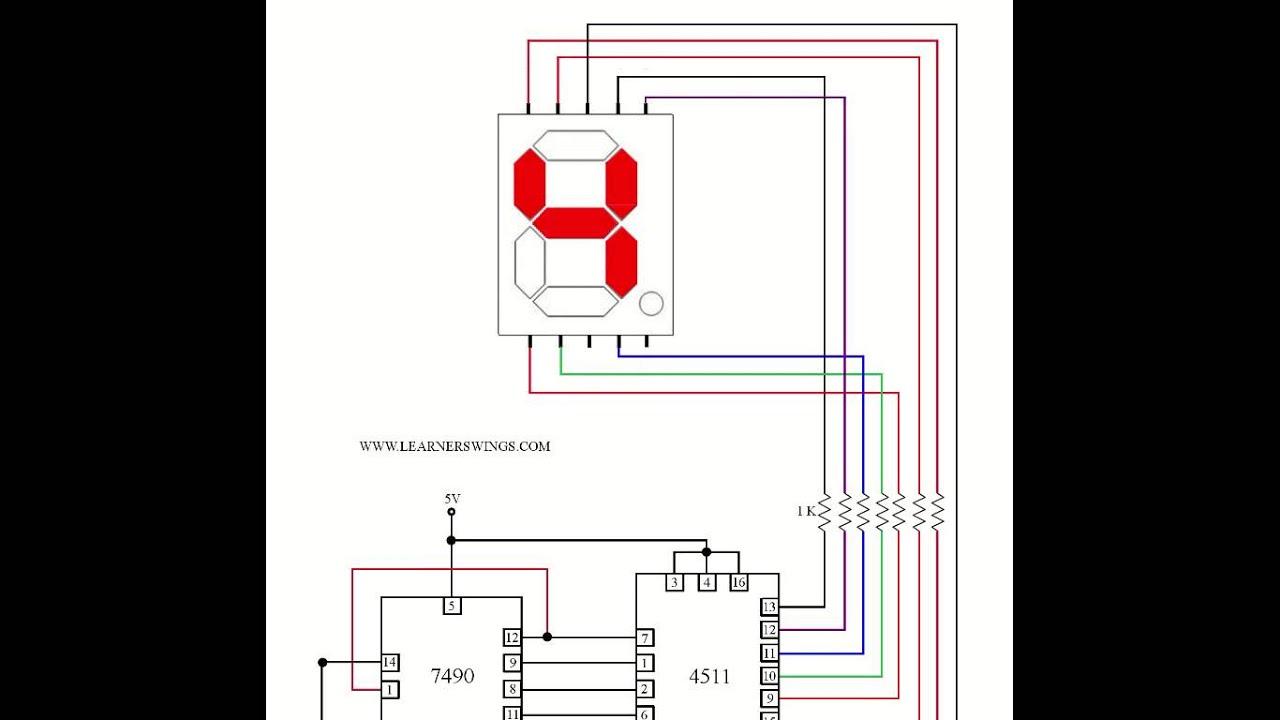circuit to control a common cathode seven segment display using 7490 4511 press button  [ 1280 x 720 Pixel ]