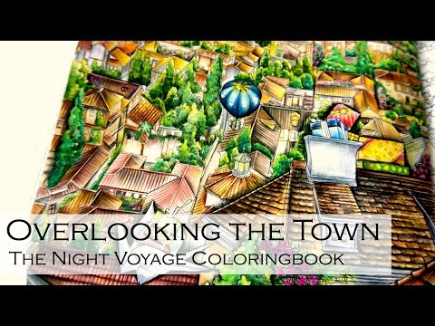 Overlooking The Town | Adult Coloring Book: The Night Voyage by Daira Song