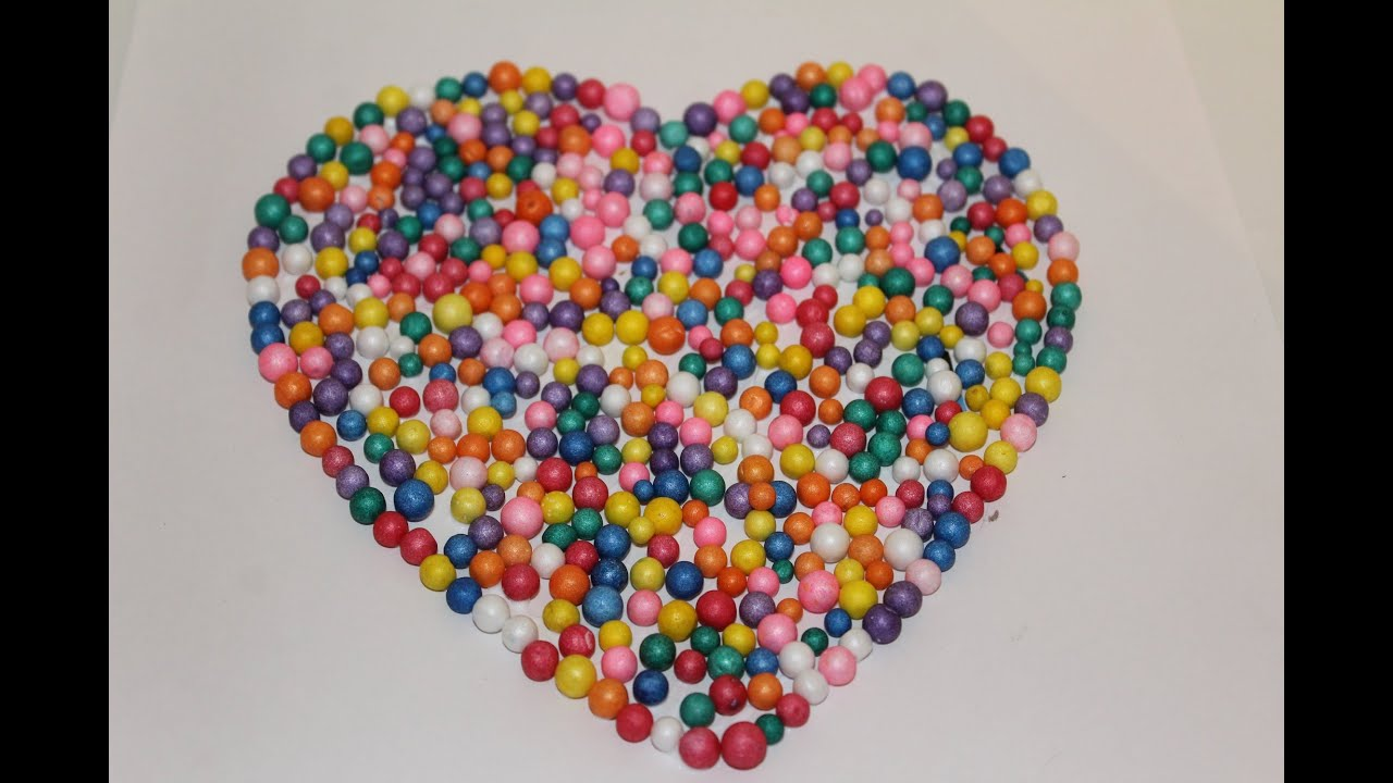 DIY How To Make A Heart With Thermocol Balls