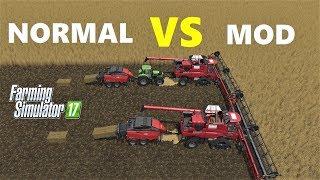 Farming Simulator 17 : NORMAL vs MOD!!! - Harvester Comparison - Harvesting and Baling