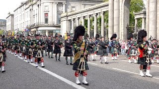Armed Forces Day Parade 2019 through Aberdeen Scotland led by the massed pipes & drums