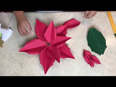 """Quick Way to Make 15"""" Poinsettia Paper Flower"""
