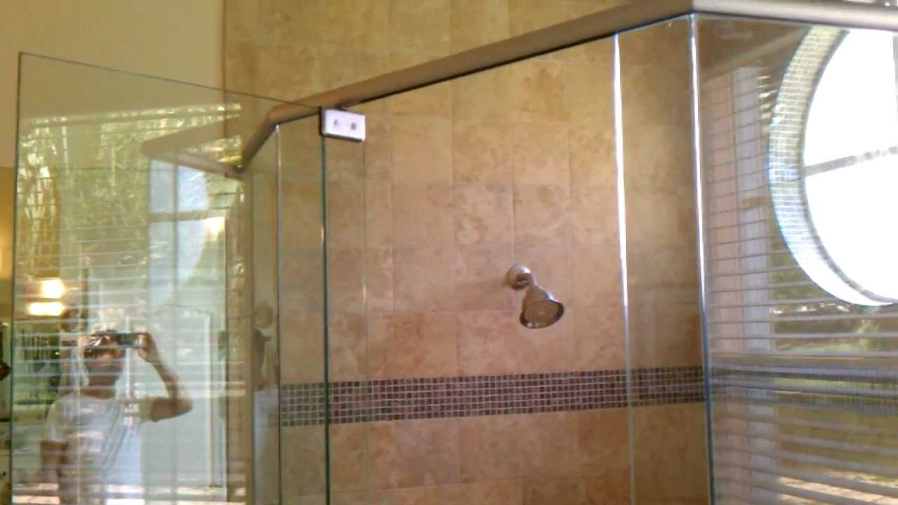 frameless shower door header sistem - YouTube