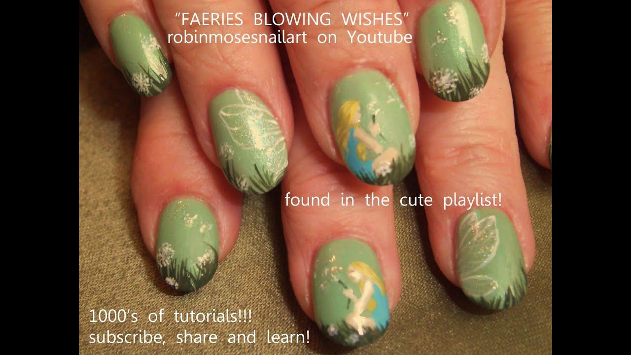 Fairy Nail Art Design Tutorial   Dandelion Nails - YouTube