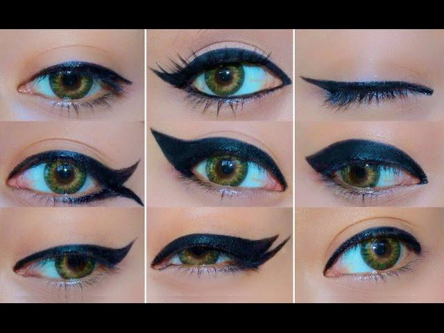 9 Different Eyeliner Looks | EASY Eyeliner Tutorial for Beginners | How to do eyeliner - YouTube